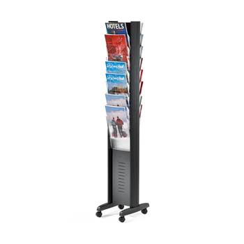 Display rack, A4, 16 comps, wheeled model