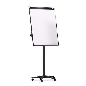 Mobile flip chart stand: locking castors