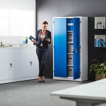 Colour storage cabinet, 1900x1000x400 mm, blue, white
