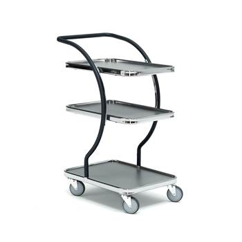 Modern tray trolley, 3 shelves, 100 kg load, 630x450x1000 mm