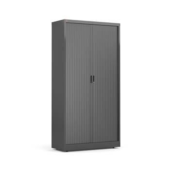 Tambour cabinet, 4 shelves, 1950x1000x420 mm, black, black
