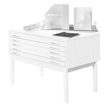 Complete drawing cabinet, 5 drawers, A1, white lacquer