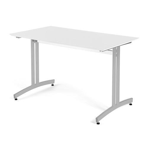 Stół do jadalni 700x720x1200mm Blat: Biały, Stelaż: Aluminium