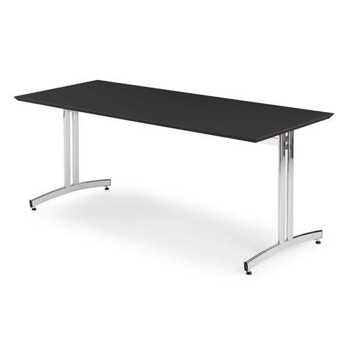 Ruokapöytä, korkeapainelaminaatti, 1800x700 mm, musta, kromi
