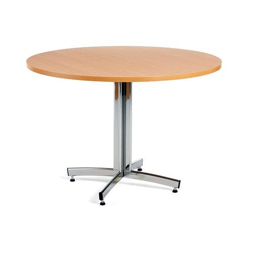 Ruokapöytä, Ø1100 mm, pyökki, kromi