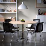 Ruokapöytä, Ø1100 mm, koivu, kromi