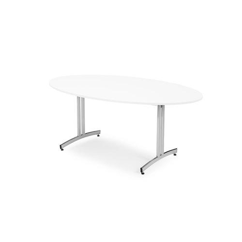 Stół owalny  1800x1000 mm biały/chrom