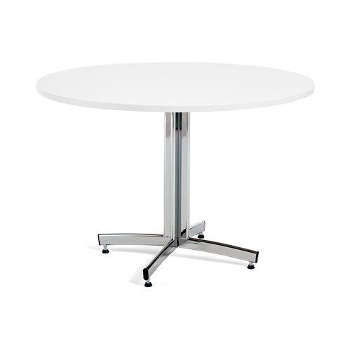 Ruokapöytä, Ø1100 mm, valkoinen, kromi