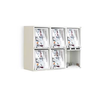 A4 display unit, 6 comps, 730x910x370 mm, white