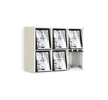 A4 display unit, 6 comps, 730x910x370 mm, black