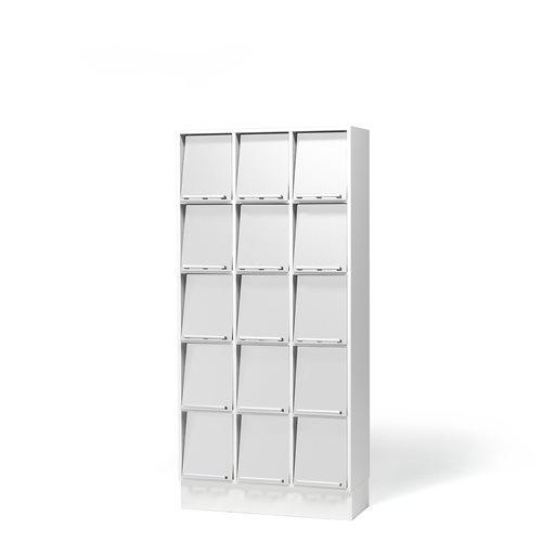 Regał ekspozycyjny naścienny z 15 komorami Kolor półek Biały