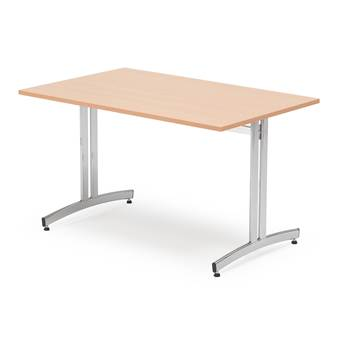 Canteen table, 1200x700x720 mm, beech laminate, chrome