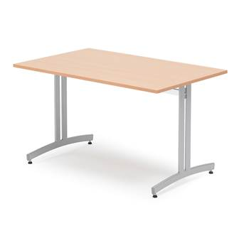 Canteen table, 1200x700x720 mm, beech laminate, alu grey
