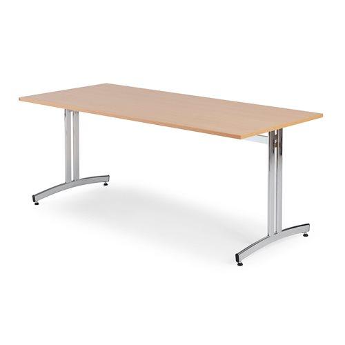 Ruokapöytä, 1800x700 mm, pyökkilaminaatti, kromi