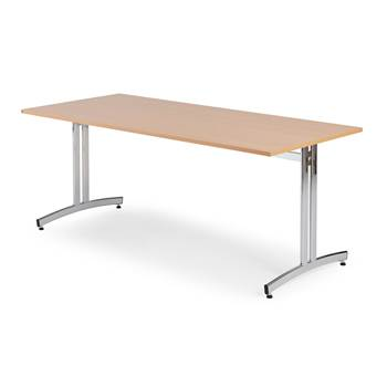 Canteen table, 1800x700x720 mm, beech laminate, chrome