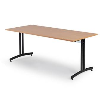 Canteen table, 1800x700x720 mm, beech laminate, black