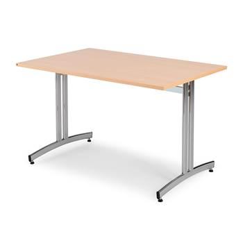 Kantinebord med buede ben, 1200x800 mm, bøk laminat, krom