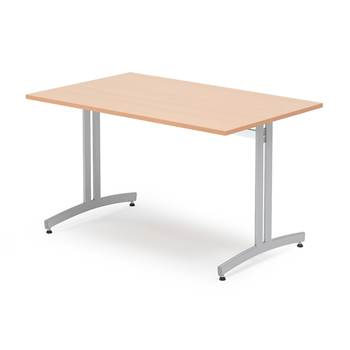 Canteen table, 1200x800x720 mm, beech laminate, alu grey