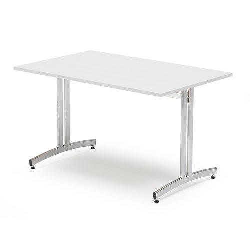 Stół, 1200x800 mm biały, chrom