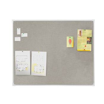Notice board, 600x450 mm, light grey, alu frame