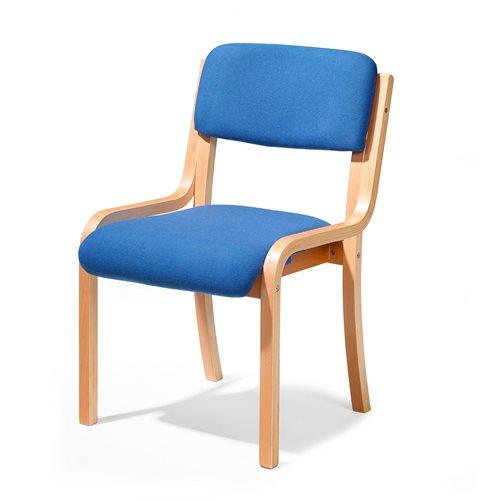 Niebieskie krzesło konferencyjne bez podłokietników.