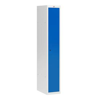 Flatpack clothes locker, W 300 mm, 1 door, grey frame, blue door