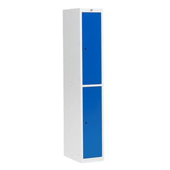 Flatpack clothes cabinet 300 mm, 2 doors, grey frame, blue doors