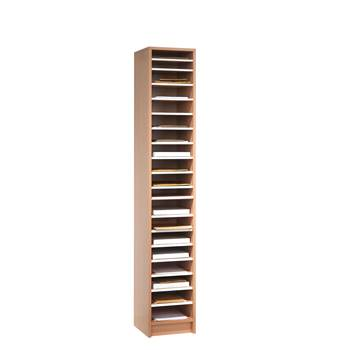 Pigeon hole storage unit, 18 comps, 1880x315x400 mm, beech