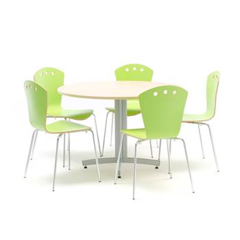 Canteen package deal: table + 5 chairs: green