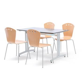 Lunchrumsgrupp: 1 bord 1200x700 mm, svart, 4 stolar i bok och grå