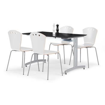 Pakkepris Spiseromsgruppe: 1 bord 1200x700 mm, sort + 4 stoler, hvit/alugrå