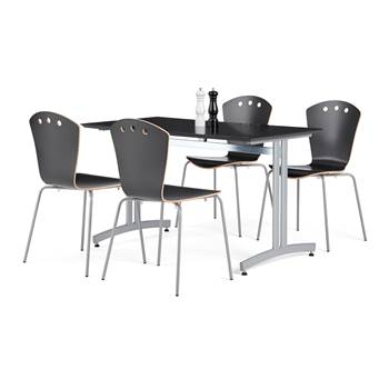 Lunchrumsgrupp: 1 bord 1200x700 mm, svart, 4 stolar i svart och grå