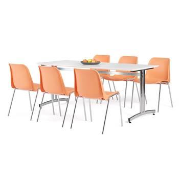 Pakkepris: Kantinebord i laminat + 6 plaststoler, Orange