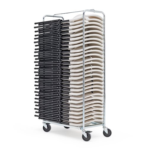 Tuolivaunu, sisältäen 28 tuolia, valkoinen