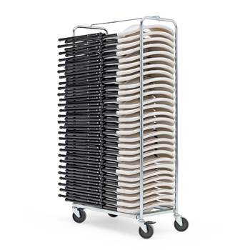 Galvanised chair trolley + 28 white chairs, 1760x485x1060 mm