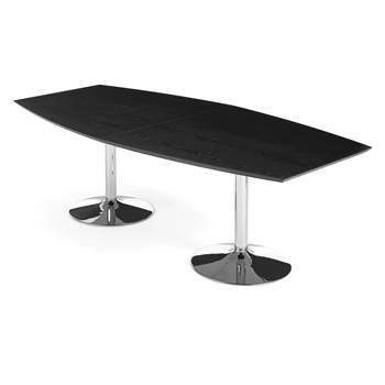 Modern conference table, 2400x1200x750 mm, black, chrome