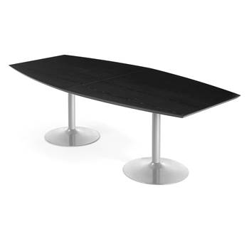 Modern conference table, 2400x1200x750 mm, black, alu grey