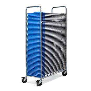 Chair trolley + 50 chairs, blue