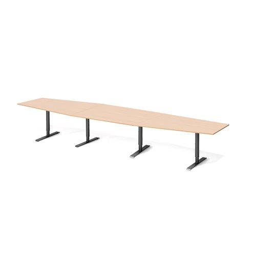 Stół konferencyjny Blat: buk laminat, Stelaż: Czarny, 1200x4200mm