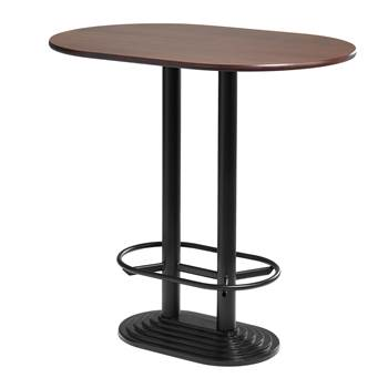Walnut bar table, double, 1200x800x1120 mm, black frame