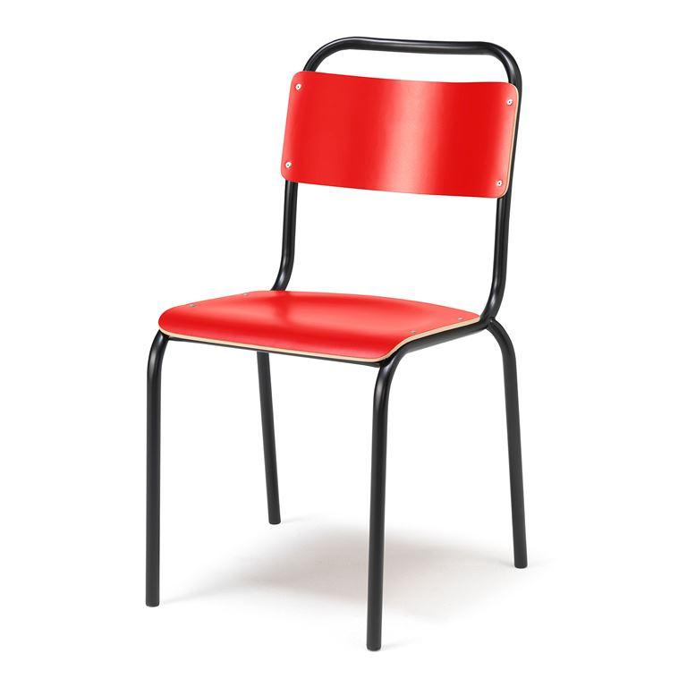 Krzesło do stołówki bez podłokietnikw, Kolor siedziska: Czerwony, Stelaż Cz