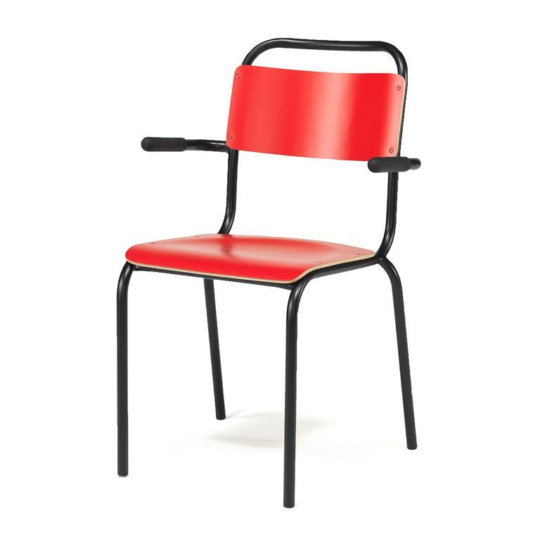 Krzesło do stołówki z podłokietnikami, Kolor siedziska: Czerwony, Stelaż Cz