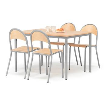 Small profil canteen group, 1 table + 4 chairs, beech, alu lacquered