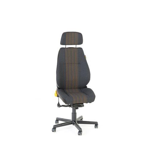 Valvomotuoli Preston, 24 tunnin tuoli, kangas, harmaa, keltainen