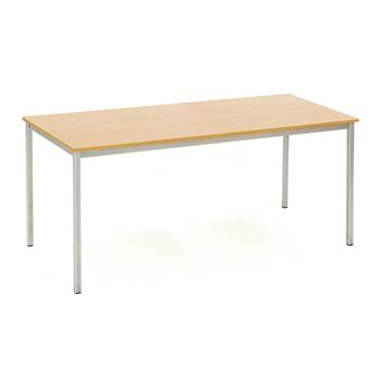 Canteen table, 1800x800x735 mm, beech laminate, alu grey