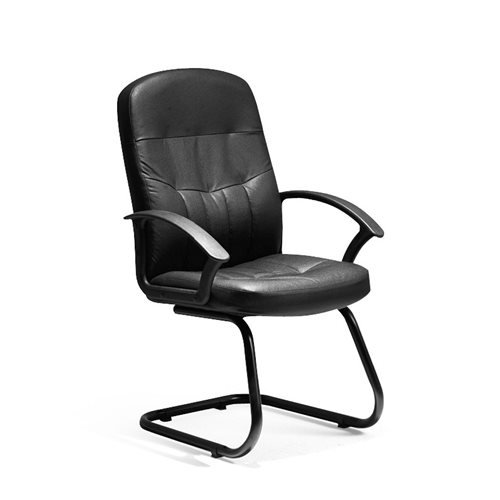 """""""Cavalier"""" black leather visitor's chair"""