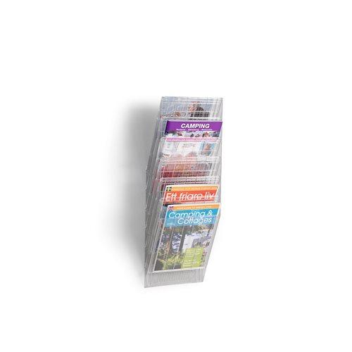 Esiteteline, 6 lokeroa, pysty A4, läpinäkyvä