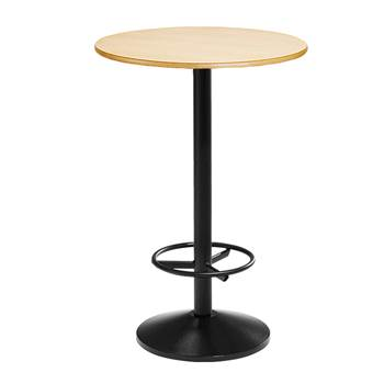 Beech bar table, single, Ø 800x1120 mm, black frame