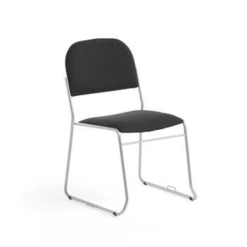 Linkable conference chair, black fabric, alu grey