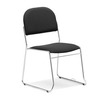 Linkable conference chair, black fabric, chrome